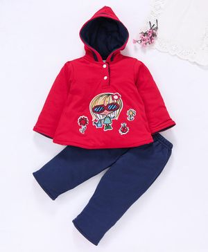 Tappintoes Full Sleeves Winter Wear Suit Girl Print - Red Blue