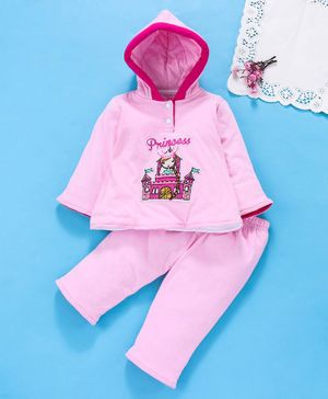 Tappintoes Full Sleeves Hooded Winter Wear Set Princess Castle Print - Light Pink