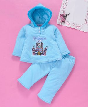 Tappintoes Full Sleeves Hooded Winter Wear Set Princess Castle Print - Blue