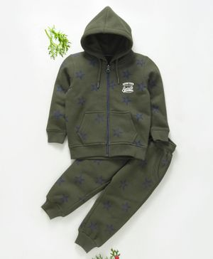 Stupid Cupid Star Printed Full Sleeves Hooded Jacket & Bottoms Set - Green