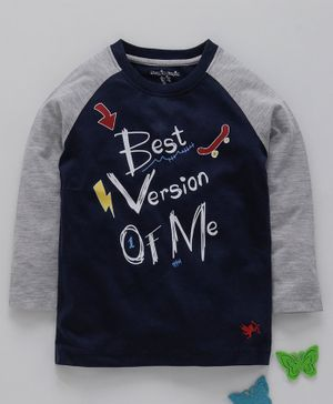 Stupid Cupid Best Version Of Me Print Raglan Full Sleeves Tee - Navy Blue