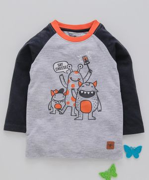 Stupid Cupid Animated Creature Print Raglan Full Sleeves Tee - Grey
