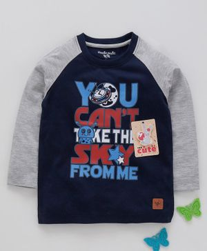 Stupid Cupid Text Print Raglan Full Sleeves Tee - Navy Blue