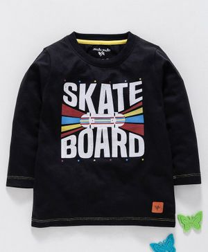 Stupid Cupid Skate Board Print Full Sleeves Tee - Black