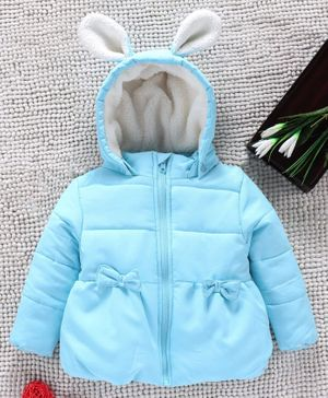 Babyhug Full Sleeves Padded Winter Jacket With Detachable Hood - Light Blue