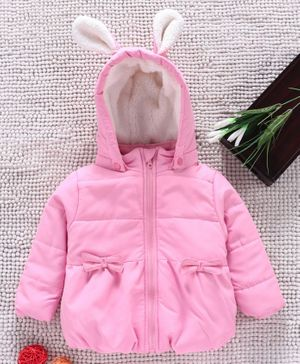 Babyhug Full Sleeves Padded Winter Jacket With Detachable Hood - Pink