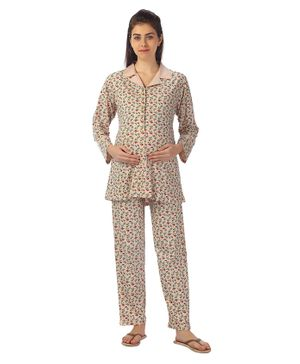 Kriti Full Sleeves Maternity Night Wear Floral Print - Pale Pink