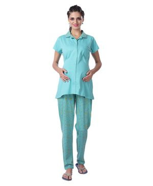 Kriti Striped Maternity Night Suit Star Print - Sea Green
