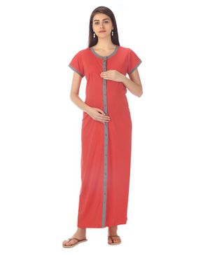 Kriti Short Sleeves Maternity Nursing Nighty - Pink