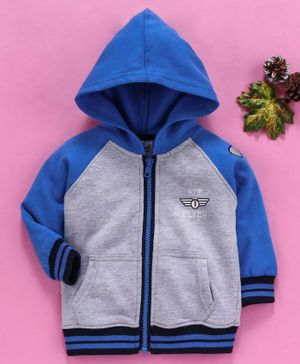 Simply Full Sleeves Hooded Sweat Jacket - Blue