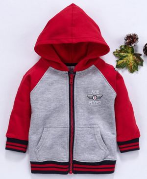 Simply Full Sleeves Hooded Sweat Jacket - Red