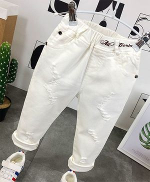 Pre Order - Awabox Full Length Distressed Pants - White