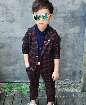 Pre Order - Awabox Full Sleeves Checked Blazer With Pants - Brown