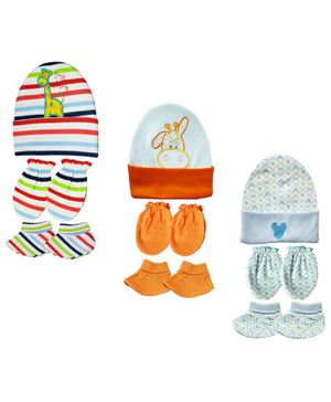 Brandonn New Cap Mittens & Booties Set Multi Print - Multicolor