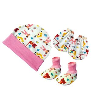 Brandonn New Cap Mittens & Booties Set Multi Print - Pink