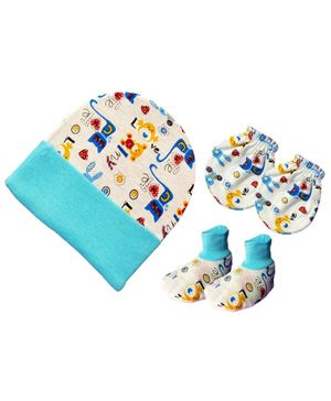 Brandonn New Cap Mittens & Booties Set Multi Print - Blue