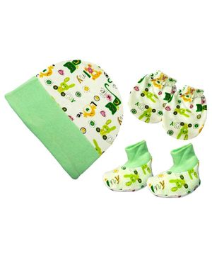Brandonn New Cap Mittens & Booties Set Multi Print - Green