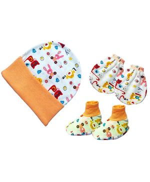 Brandonn New Cap Mittens & Booties Set Multi Print - Peach