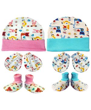 Brandonn New Cap Mittens & Booties Set Multi Print - Pink Blue