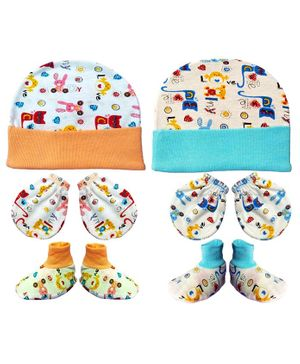 Brandonn New Cap Mittens & Booties Set Multi Print - Orange Blue