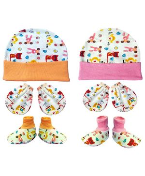 Brandonn New Cap Mittens & Booties Set Multi Print - Orange Pink