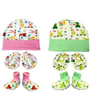 Brandonn New Cap Mittens & Booties Set Multi Print - Pink Green