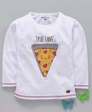 Stupid Cupid True Love Print Full Sleeves Tee - White