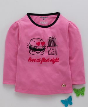 Stupid Cupid Burger Print Full Sleeves Tee - Pink