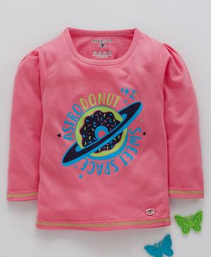Stupid Cupid Astrodonut Sweet Space Print Puff Full Sleeves Tee - Pink