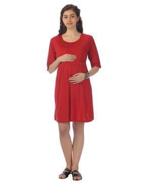 Kriti Three Fourth Sleeves Maternity Dress - Red
