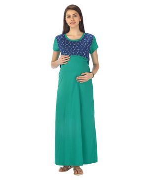 Kriti Short Sleeves Maternity Nursing Nighty Floral Print - Green