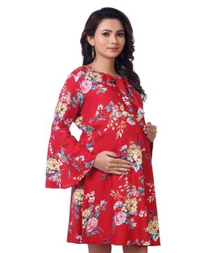 Kriti Full Sleeves Floral Printed Maternity Dress - Red