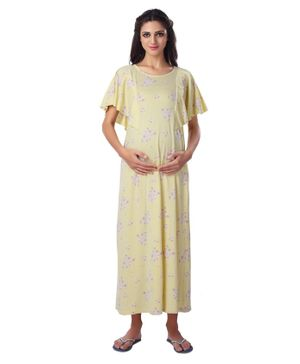 Kriti Half Sleeves Floral Printed Maternity Nighty - Light Yellow