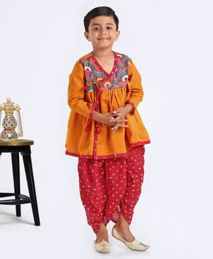 Exclusive From Jaipur Three Fourth Sleeves Kurta And Dhoti - Yellow Red