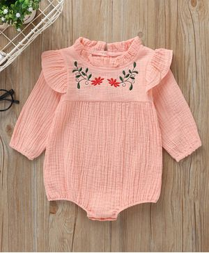 Kookie Kids Full Sleeves Onesie Floral Embroidered - Peach