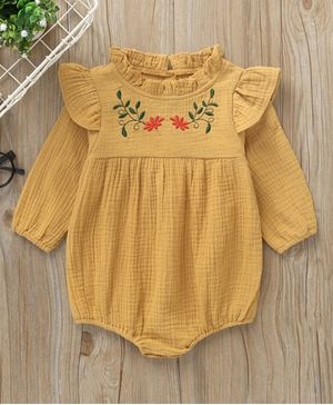 Kookie Kids Full Sleeves Onesie Floral Embroidered - Yellow