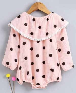 Kookie Kids Full Sleeves Onesie Polka Dot Print - Light Pink