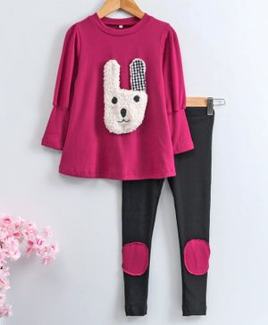 Kookie Kids Full Sleeves Top & Leggings Bunny Applique - Dark Pink Black