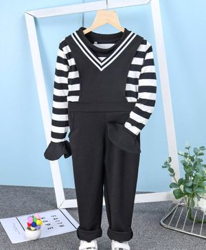 Kookie Kids Full Sleeves Striped Top & Solid Dungaree - Black White
