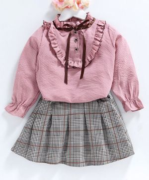 Kookie Kids Full Sleeves Top & Skirt Checked - Pink Grey