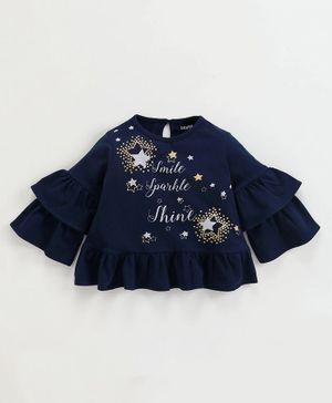 Babyoye Cotton Full Sleeves Star Print Ruffled Top - Navy