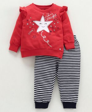 Babyoye Cotton Top & Bottom Set Star Print - Red