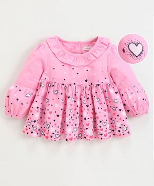 Babyoye Cotton Full Sleeves Top Heart Print - Pink