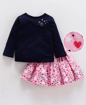 Babyoye Cotton Full Sleeves Top & Layered Skirt Heart Print - Navy Blue Pink
