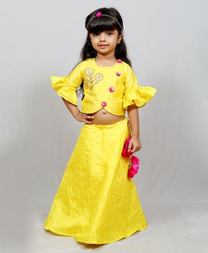 Varsha Showering Trends Flower Embroidered Half Ruffle Sleeves Choli With Sequin Decor Lehenga - Yellow