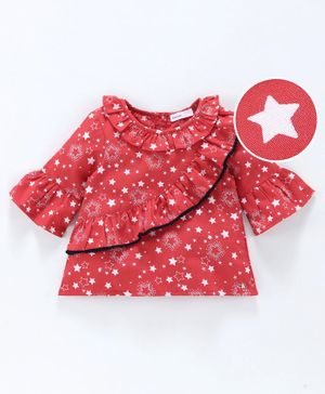 Babyoye Bell Sleeves Cotton Ruffled Top Star Print - Red