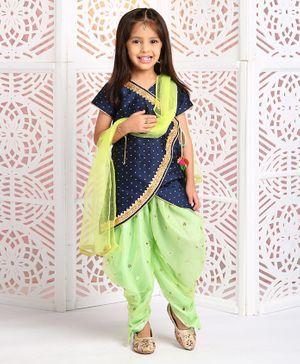 Saka Designs Short Sleeves Asymmetrical Kurt And Dhoti Pants With Dupatta - Navy Blue Green