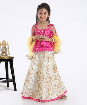 Saka Designs Singlet Layered Choli & Lehenga Set With Dupatta Sequin Detailing - Pink Cream