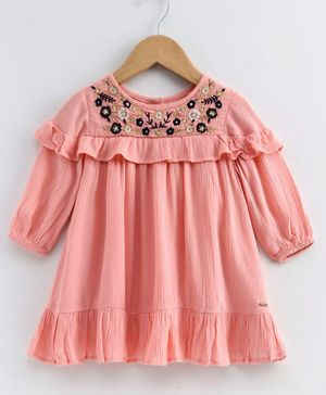 Babyoye Full Sleeves Cotton Dress Floral Embroidery - Coral