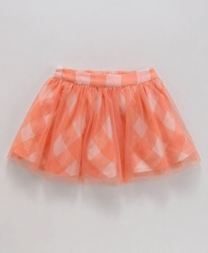 Babyoye Cotton Checked Skirt - Coral